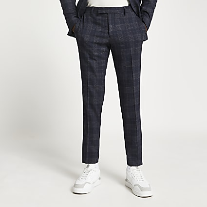 Navy check print skinny fit suit trousers