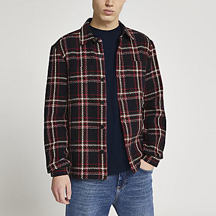 Navy check shacket