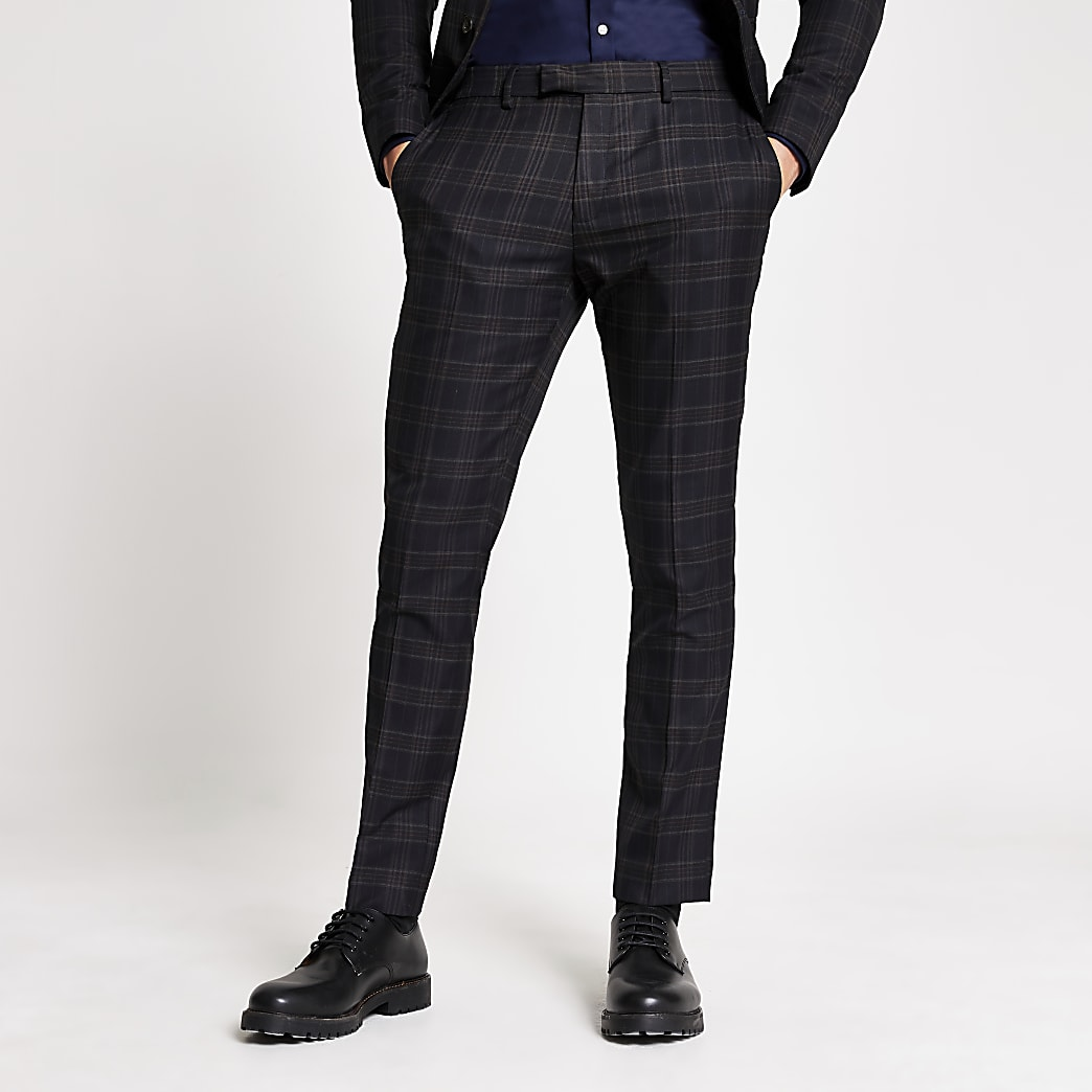 Navy check skinny fit suit trousers