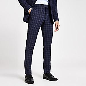 Pantalon de costume slim bleu marineà carreaux