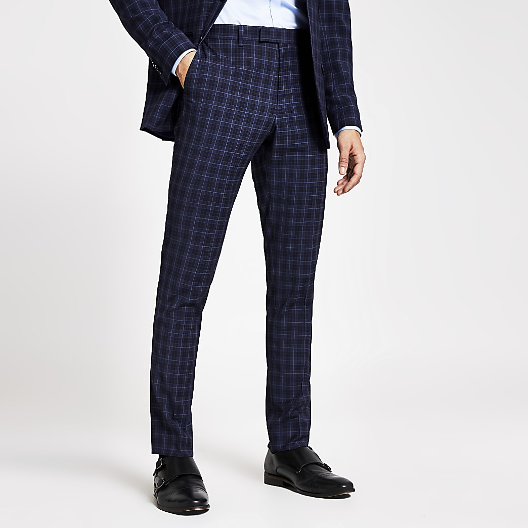 Navy check slim fit suit trousers