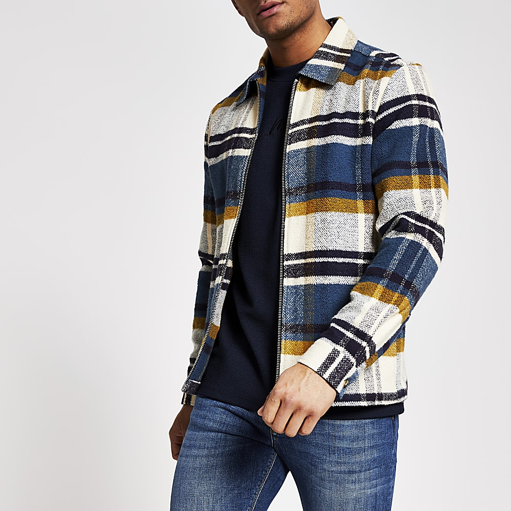 Navy check zip front long sleeve overshirt