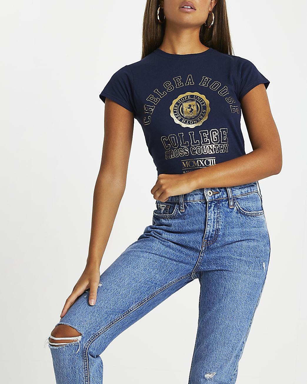 Navy 'Chelsea House' short sleeve t-shirt