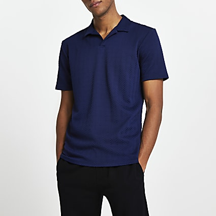 Navy chevron slim short sleeve polo shirt
