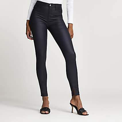 Navy coated high waisted jeans