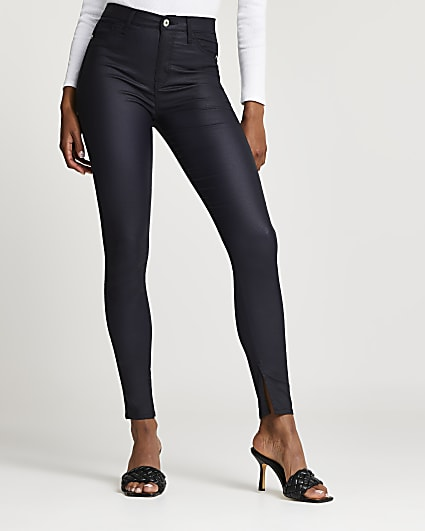 Navy coated high waisted skinny jeans