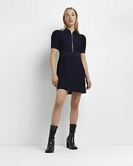 Navy collared jacquard mini dress