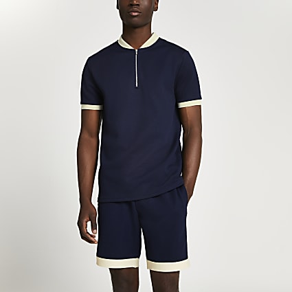Navy colour block half zip slim fit polo