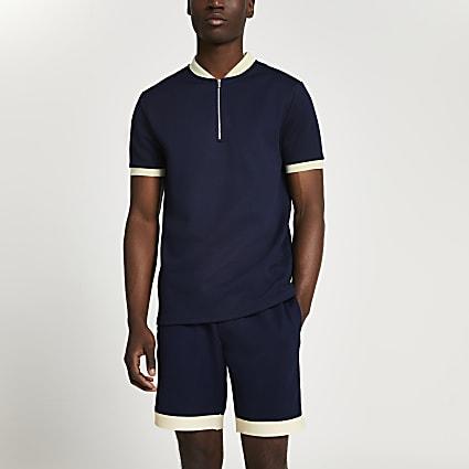 Navy colour block half zip slim fit polo
