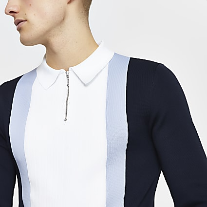 Navy colour block long sleeve polo shirt