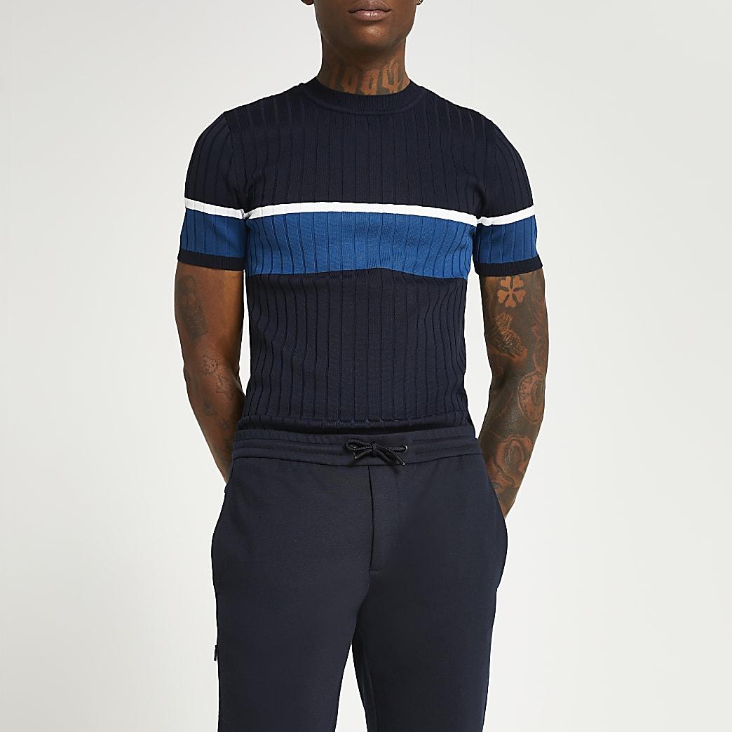Navy colour block muscle fit t-shirt