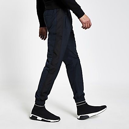 Navy colour block slim fit nylon joggers