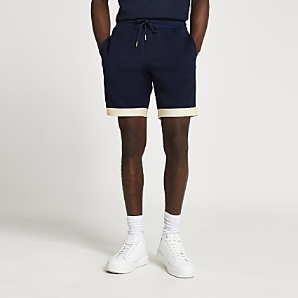 Navy colour block slim fit shorts