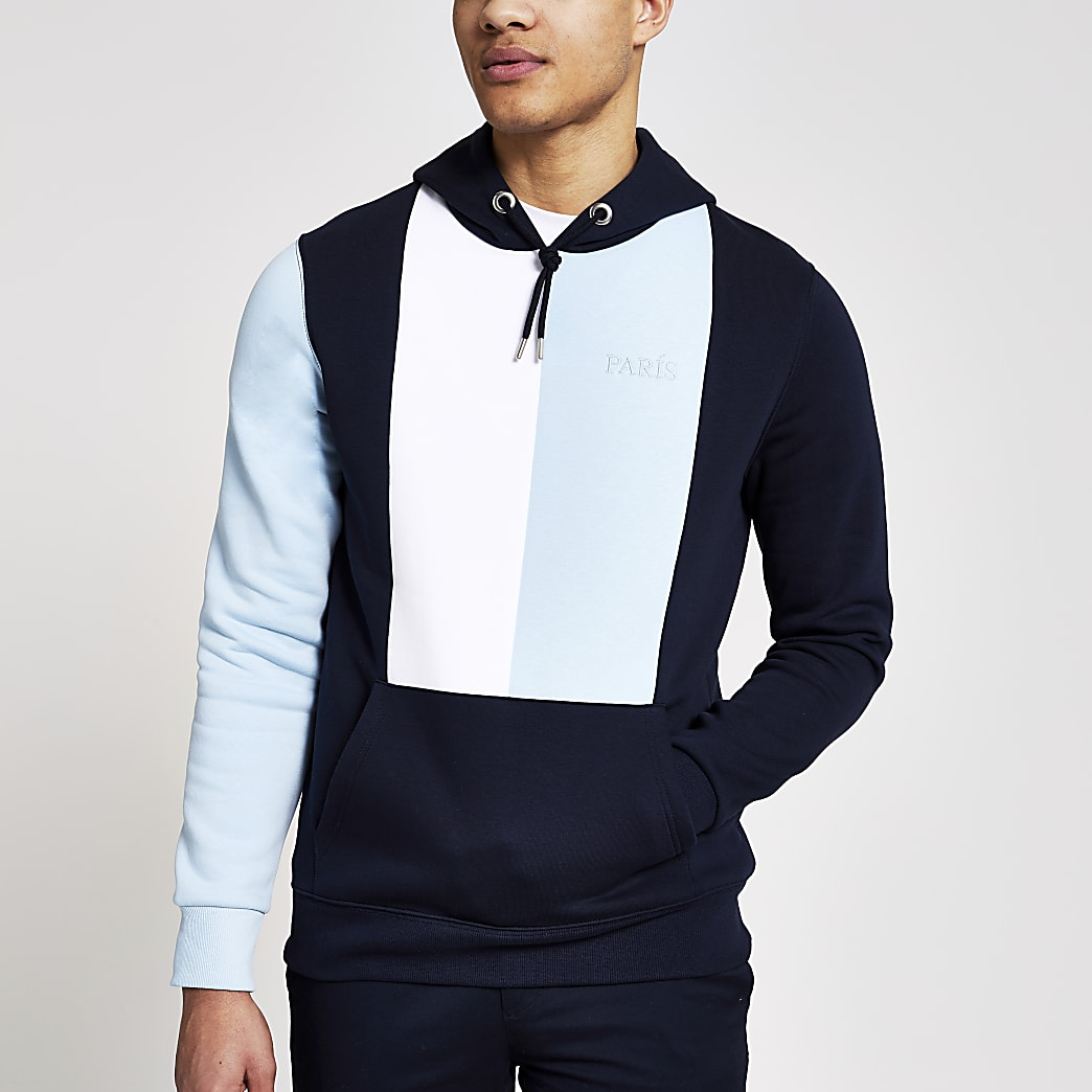 Navy colour blocked 'Paris' slim fit hoodie