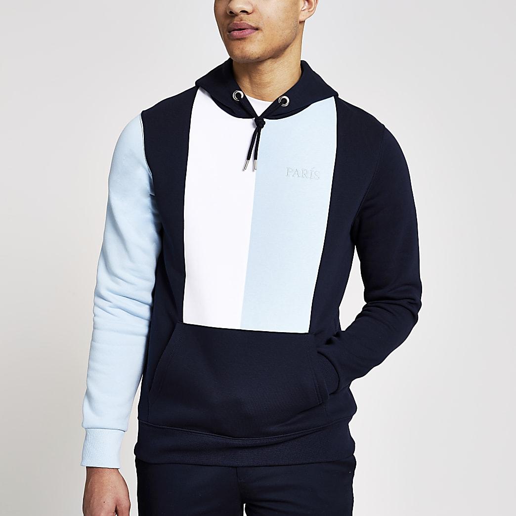 Marineblauwe slim-fit hoodie met kleurvlakken en 'Paris'-tekst