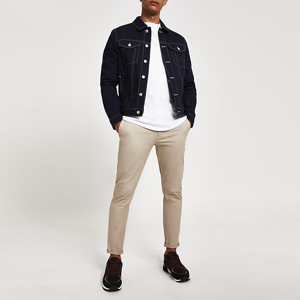 Navy contrast stitch classic fit jacket