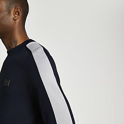 Navy crew neck slim fit jumper