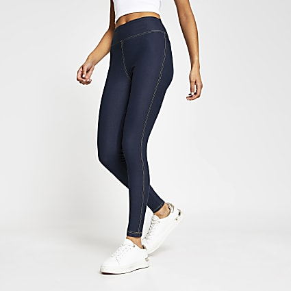 Navy denim high waist leggings