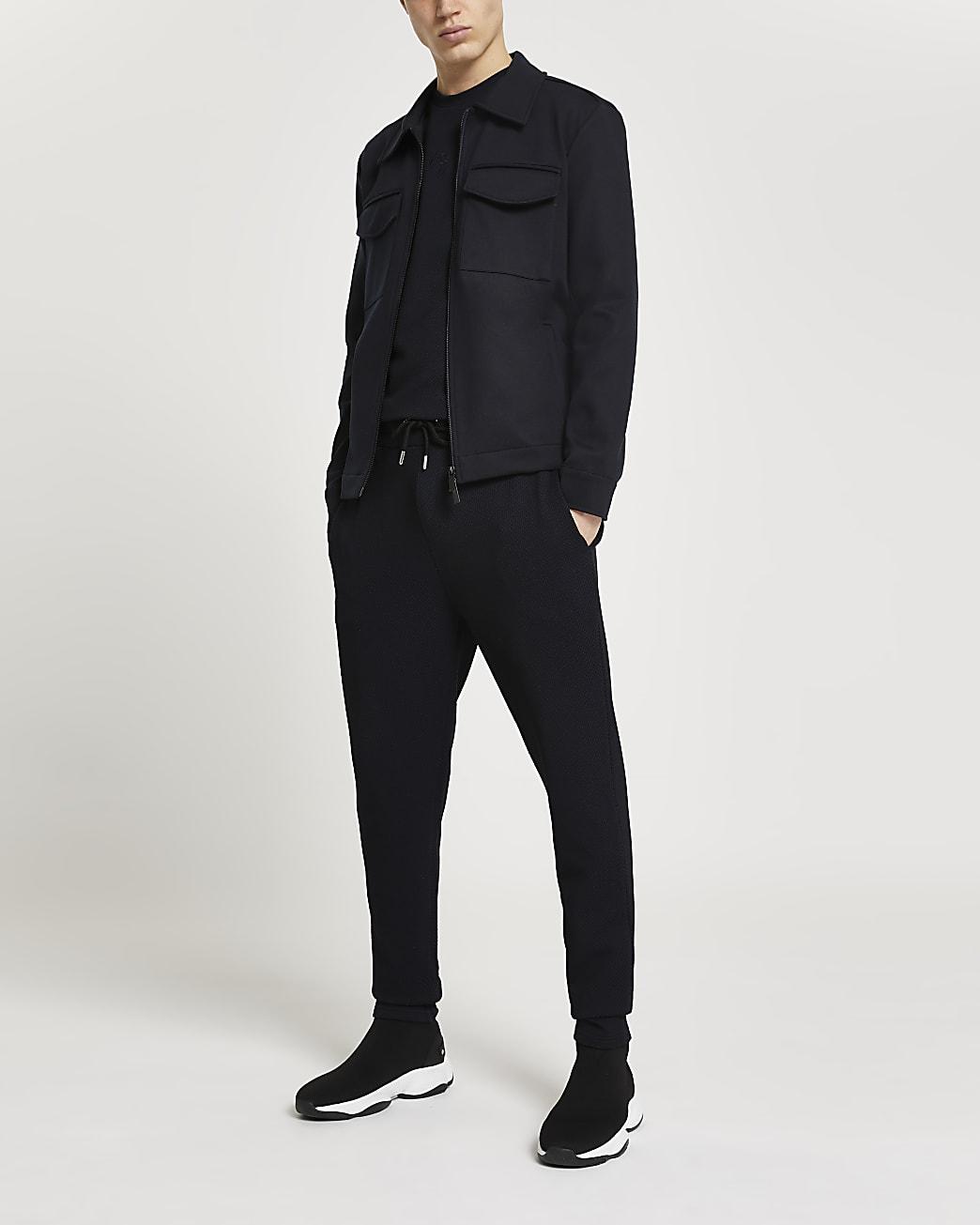 Navy double pocket long sleeve shacket