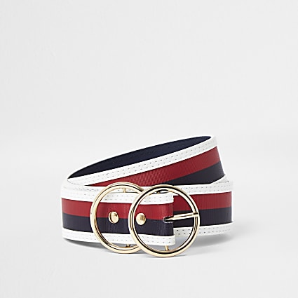 Navy double ring stripe belt