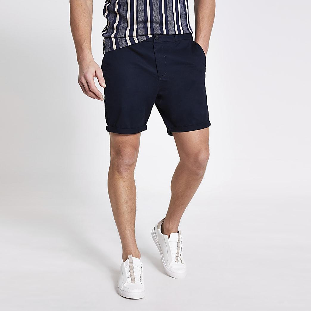 Marineblauwe slim-fit Dylan shorts