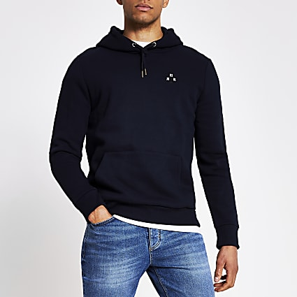 Navy embroidered slim fit hoodie