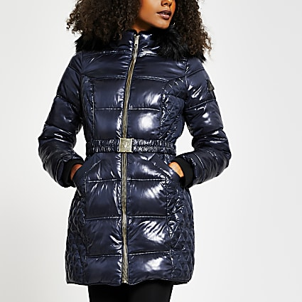 Navy faux fur padded belted coat