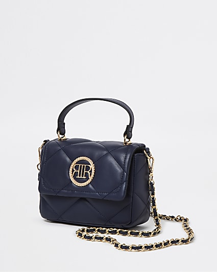 Navy faux leather quilted cross body bag