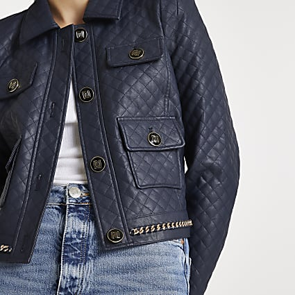 Navy faux leather quilted jacket
