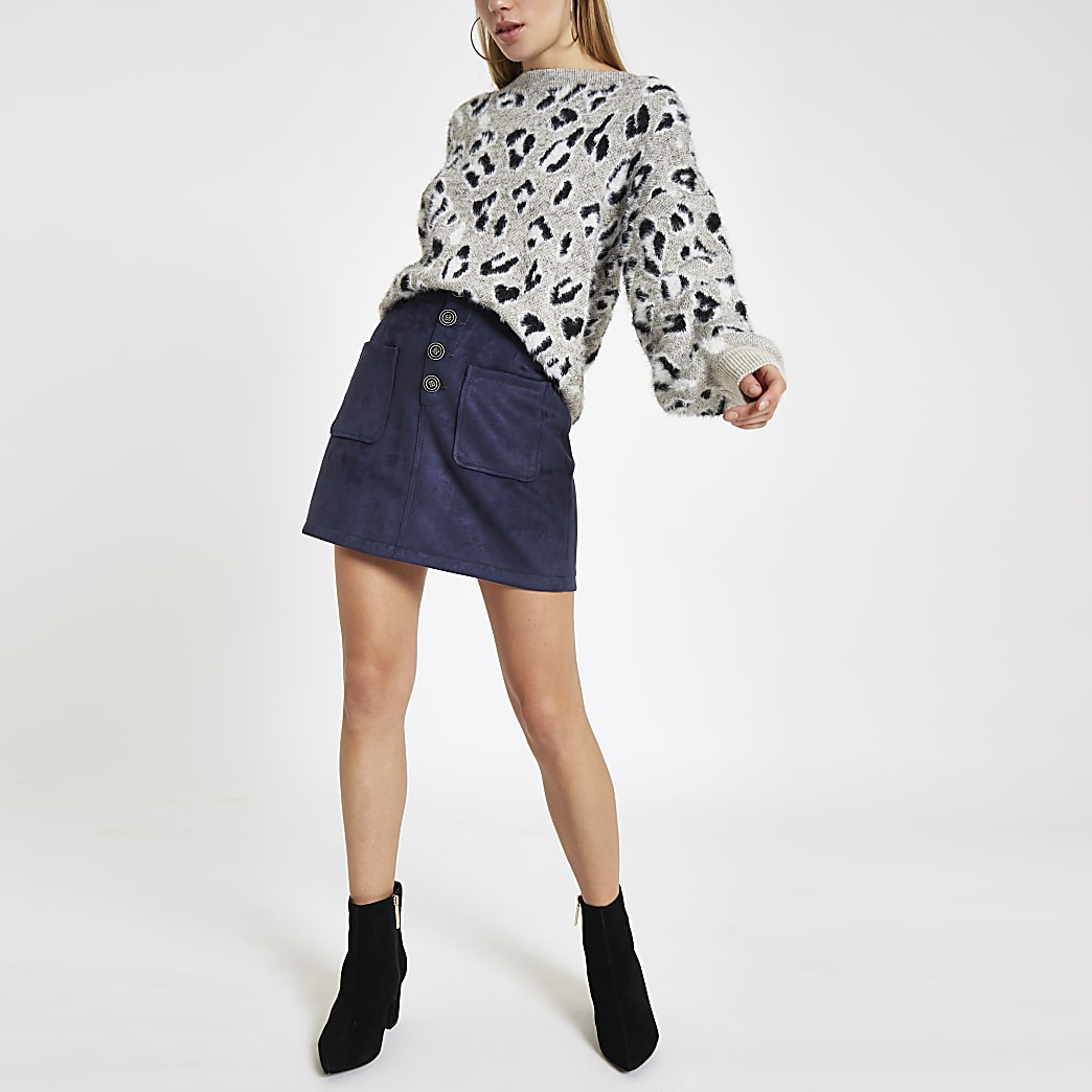 Navy faux suede button front mini skirt