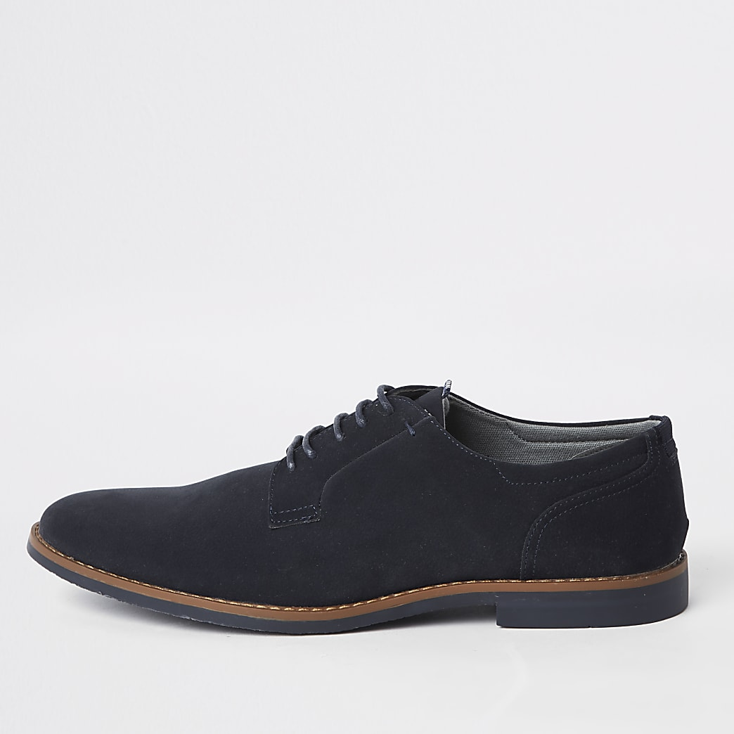 Navy faux suede lace-up derby shoes