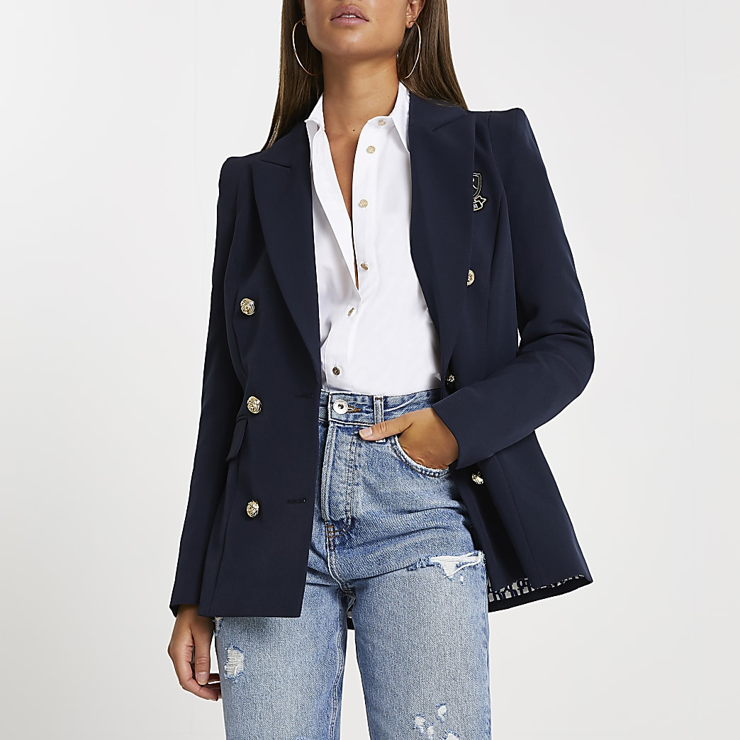 Navy fitted double breasted blazer
