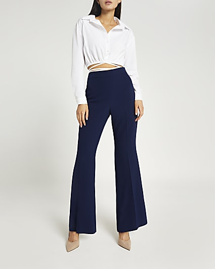 Navy flared trousers