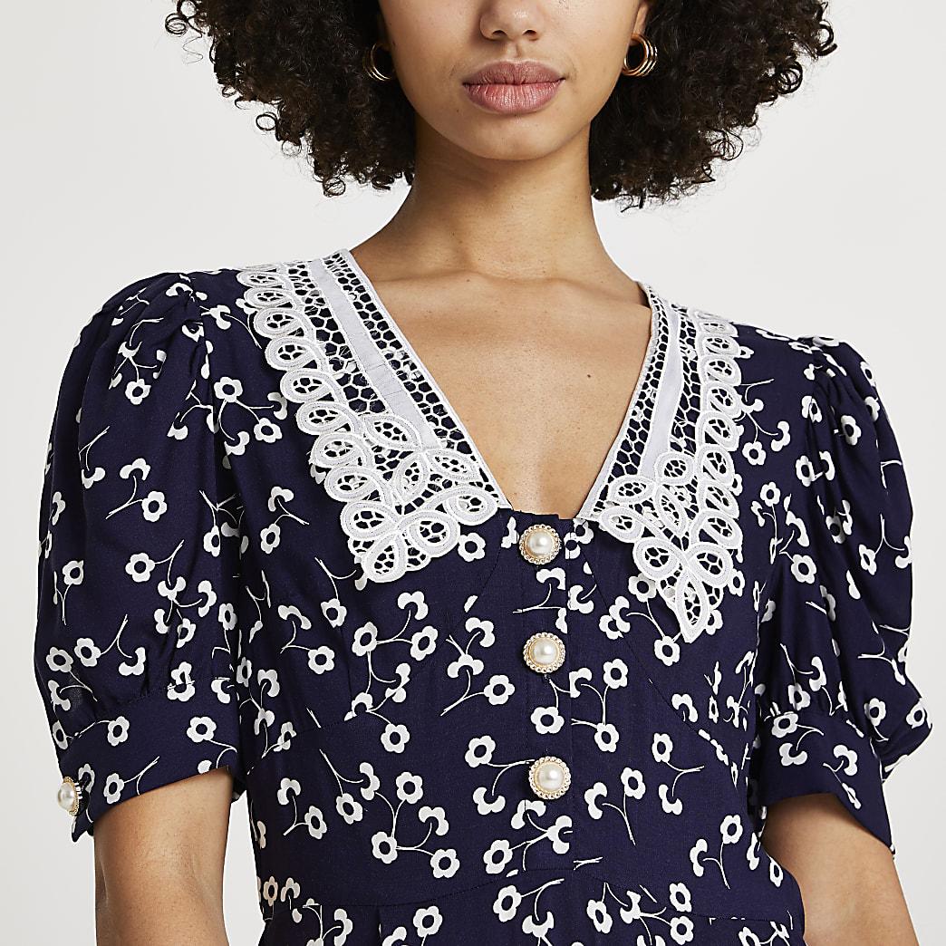 Navy floral collar tea mini dress