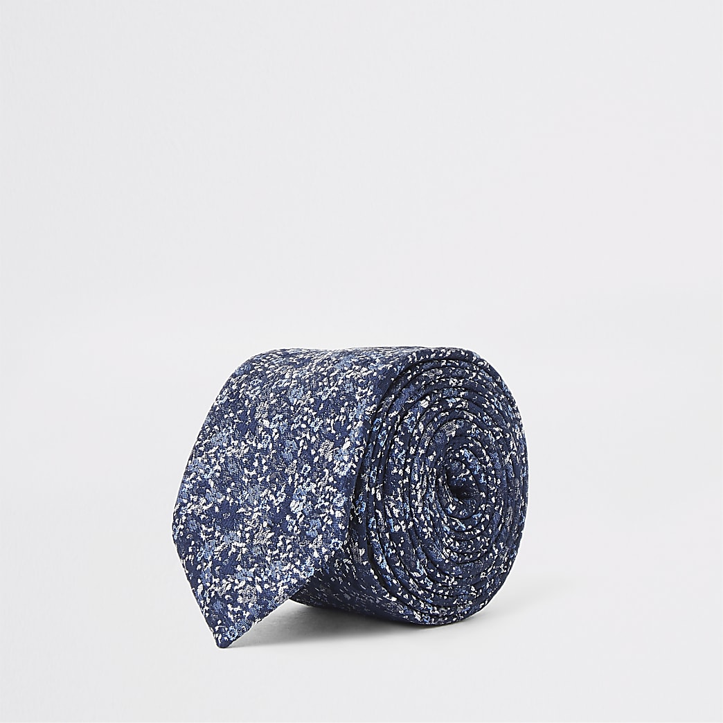 Navy floral ditsy print tie