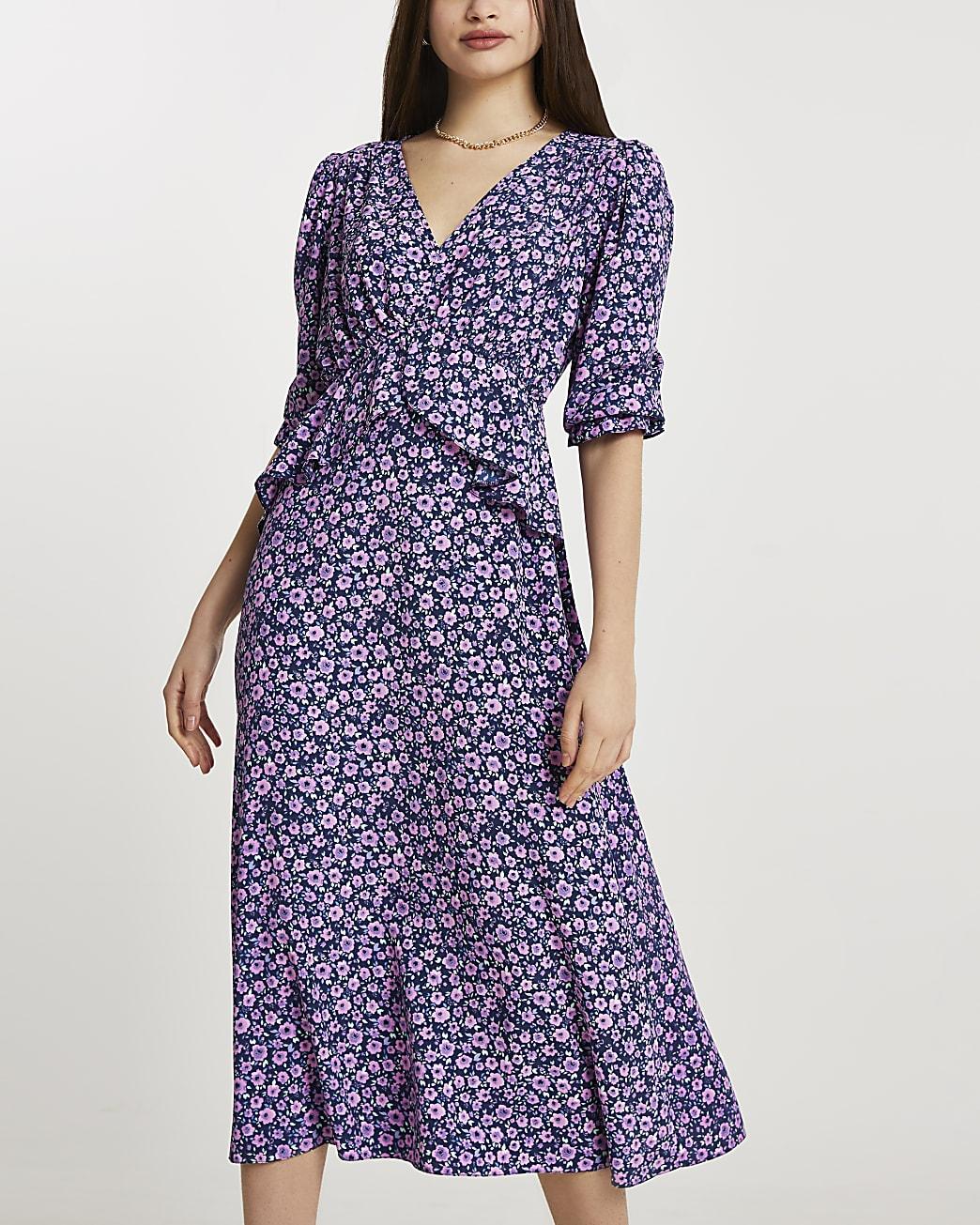 Navy floral frill waist midi dress