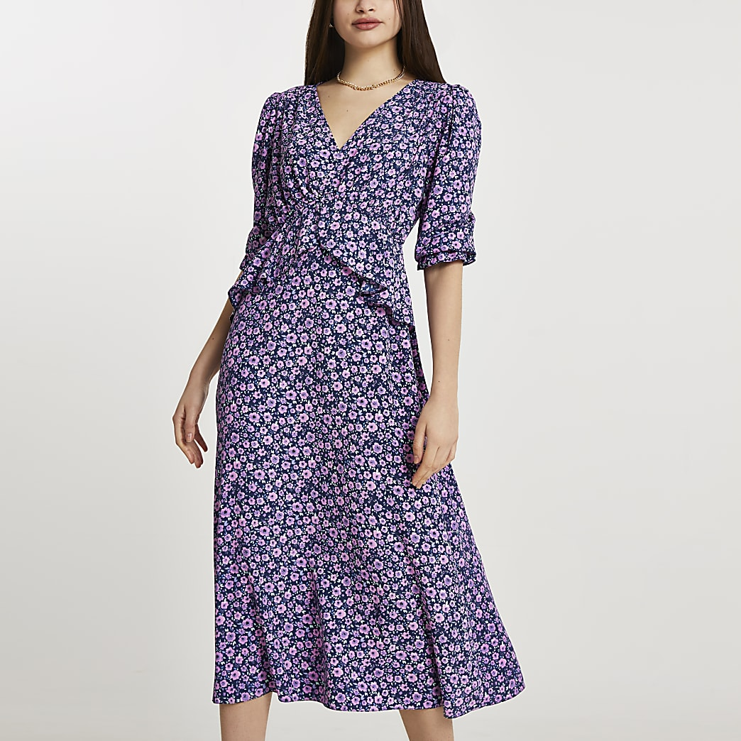 Navy floral frill waist midi dress