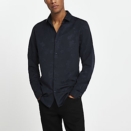 Navy floral jacquard slim fit shirt