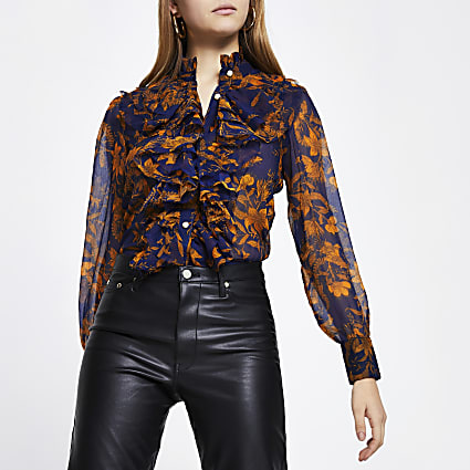 Navy floral long sleeve ruffle neck blouse