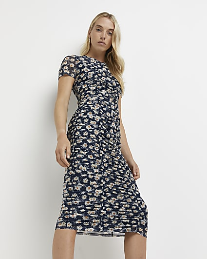 Navy floral print ruched midi dress