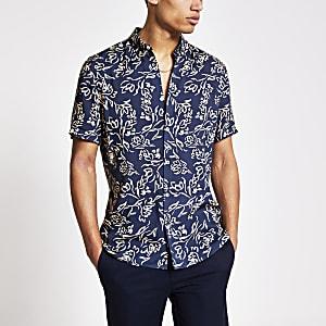 Marineblauw slim-fit overhemd met bloemenprint