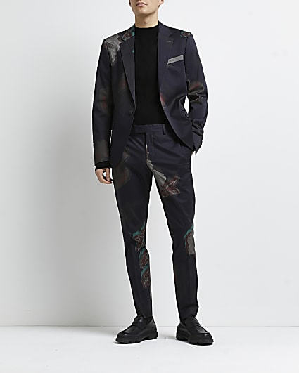 Navy floral printed skinny fit suit trousers