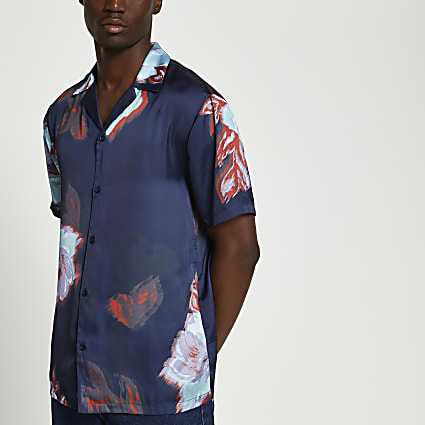Navy floral revere short sleeve shirt