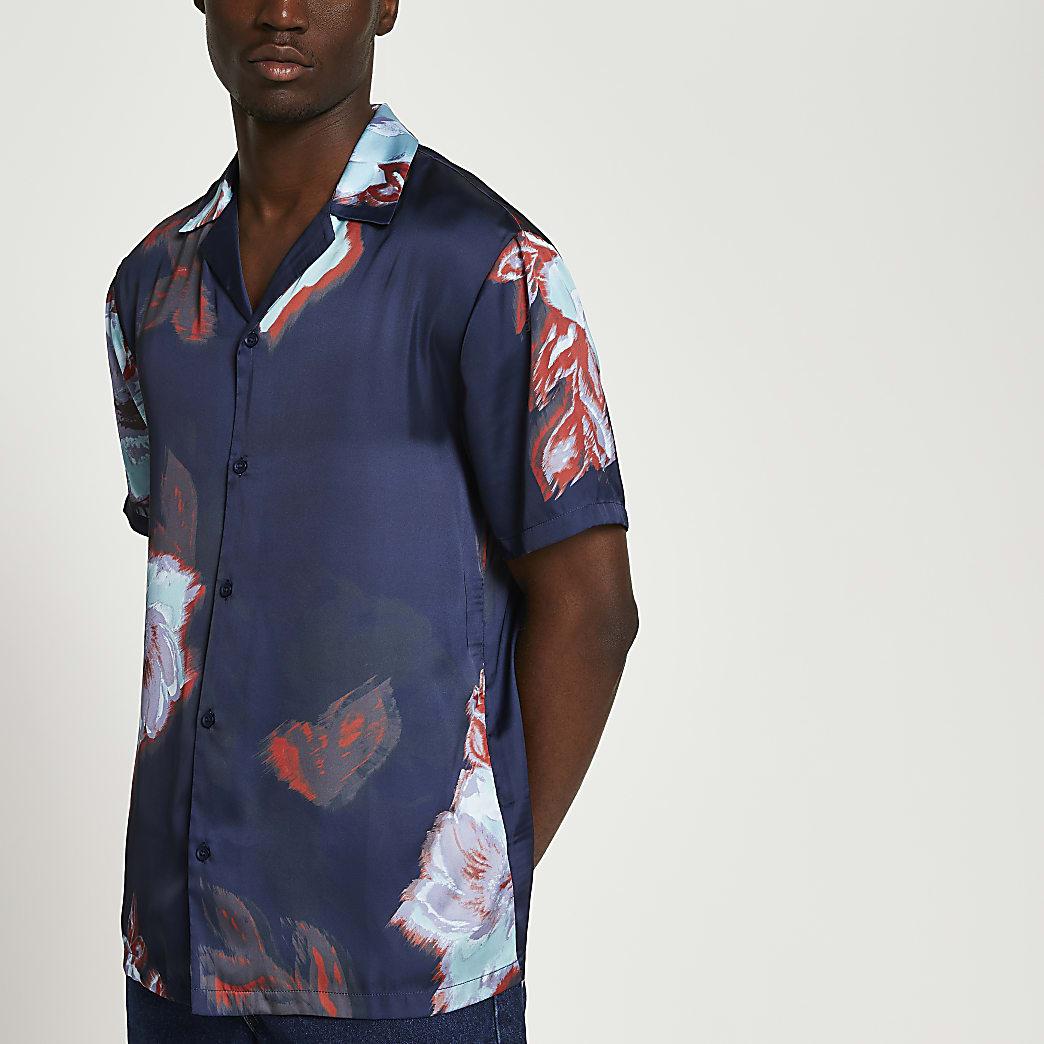 Navy floral revere short sleeve shirt