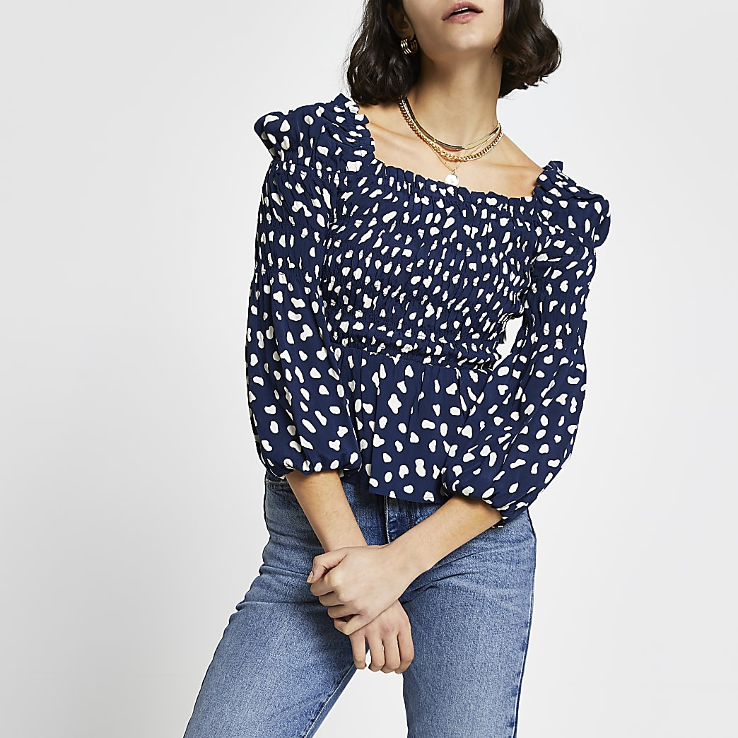 Navy floral shirred puff sleeve blouse top