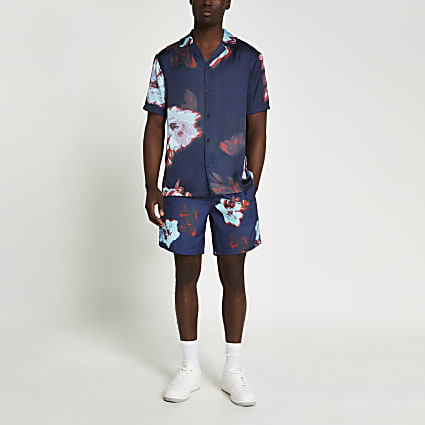 Navy floral swim shorts