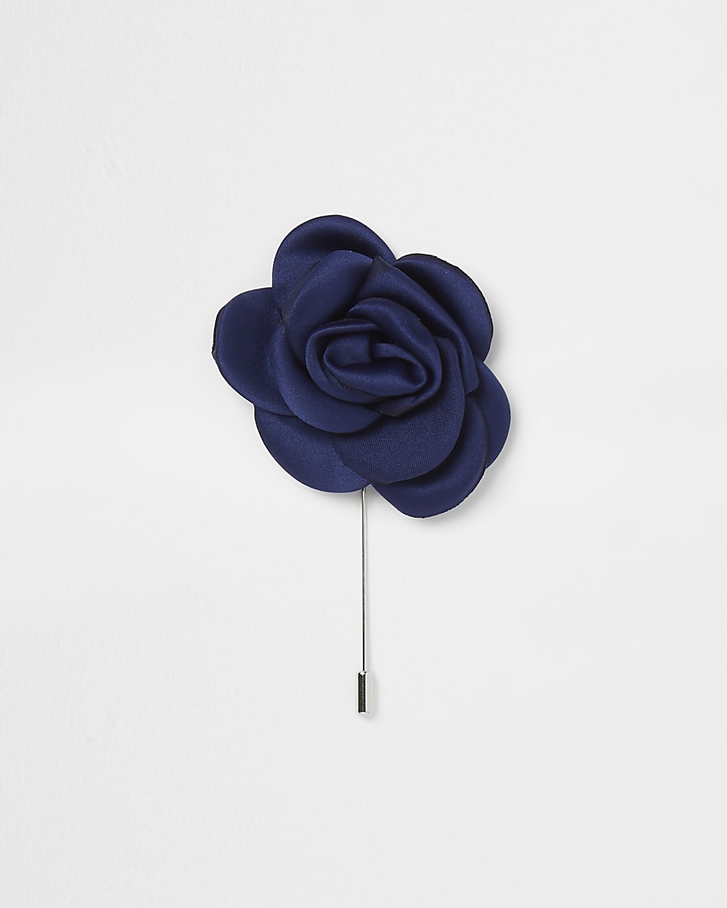 Navy flower satin lapel pin