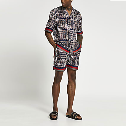 Navy geo print elasticated shorts