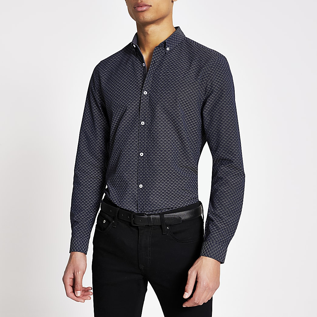 Marineblauw slim-fit overhemd met geo-print en lange mouwen