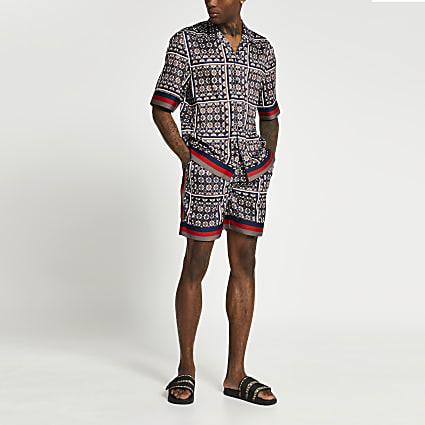 Navy geo print shorts